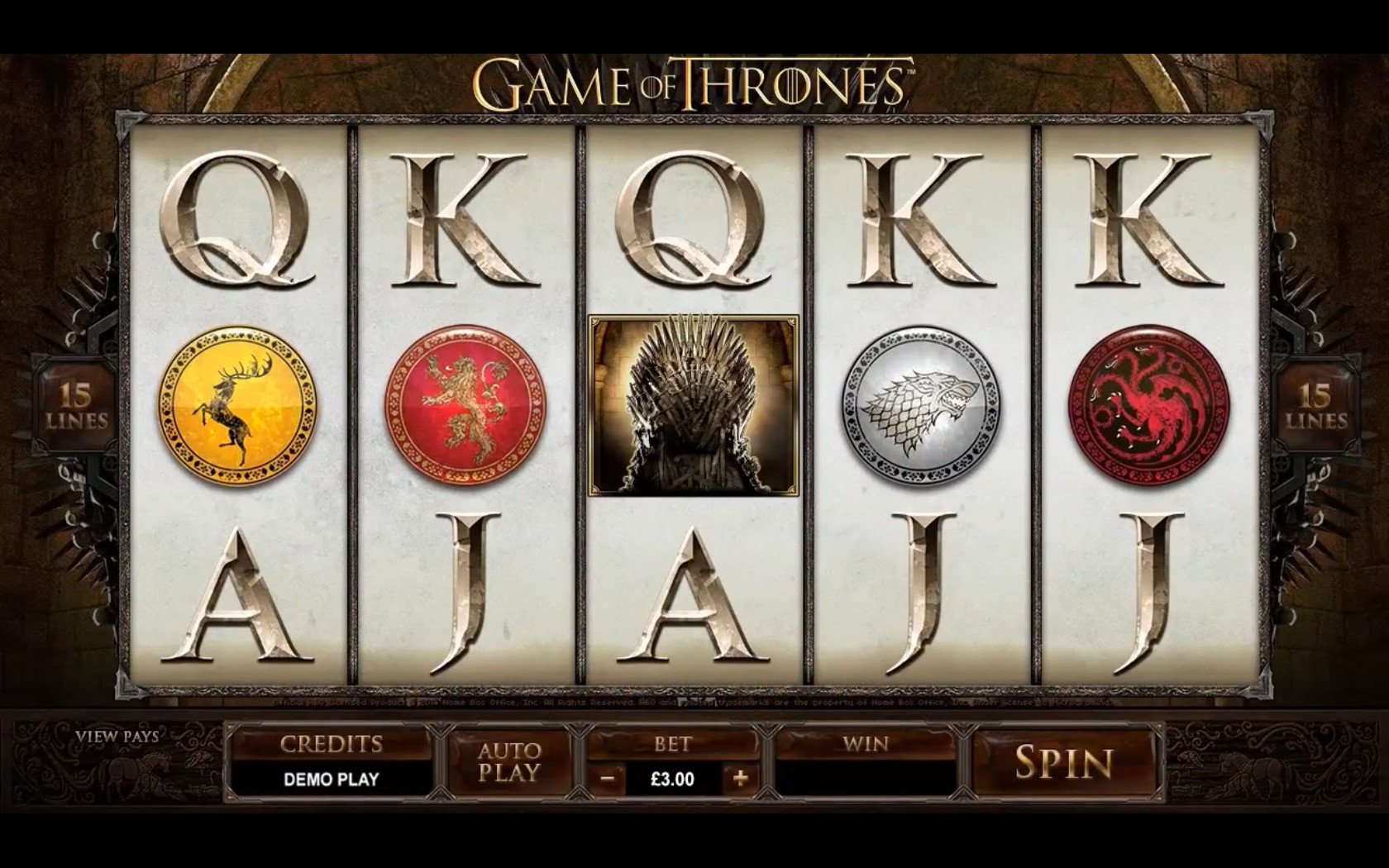 The slot machine Game of Thrones